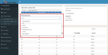 Panduan swanstat diagram pencar swanstatistics silakan import data atau memilih data yang telah disiapkan di tampilan select data active berikut ccuart Gallery